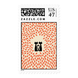 Two Cats Wedding Stamp