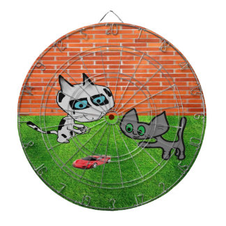 Two Cats With A Remote Control Car Dartboards