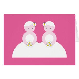 Two caucasian brides card