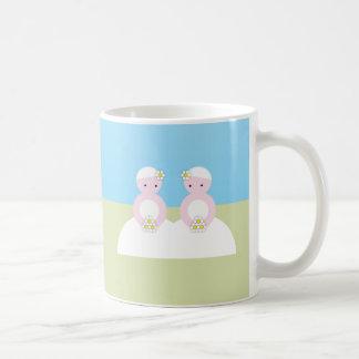 Two caucasian brides coffee mug