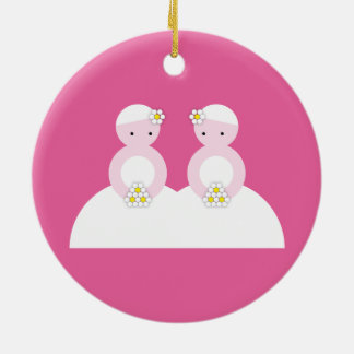 Two caucasian brides Double-Sided ceramic round christmas ornament