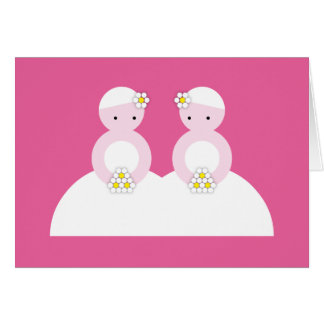 Two caucasian brides greeting card