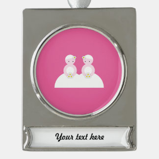 Two caucasian brides silver plated banner ornament
