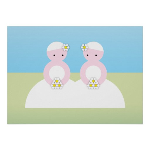 Two caucasian brides poster