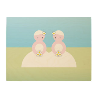 Two caucasian brides wood print