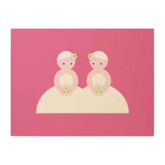 Two caucasian brides wood canvases