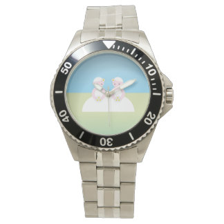 Two caucasian brides wristwatch