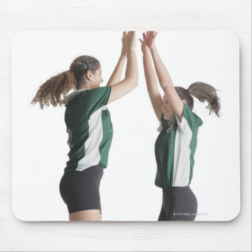 two caucasian female volleyball players from the mouse pad