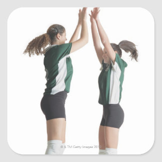 two caucasian female volleyball players from the square sticker