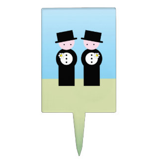 Two caucasian grooms cake topper