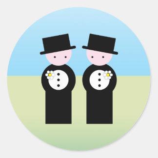 Two caucasian grooms classic round sticker