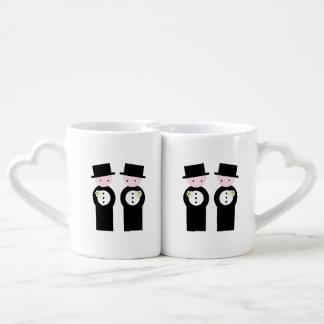 Two caucasian grooms coffee mug set