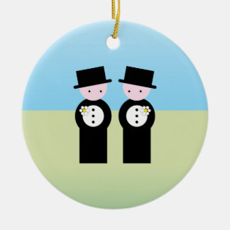 Two caucasian grooms Double-Sided ceramic round christmas ornament