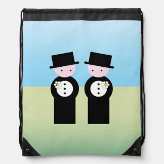 Two caucasian grooms drawstring bag