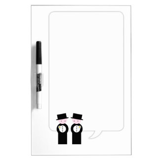Two caucasian grooms dry erase whiteboards