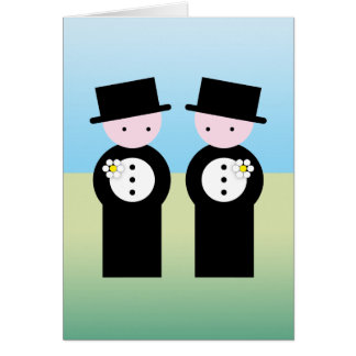 Two caucasian grooms greeting card