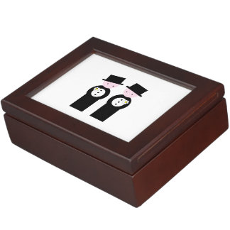Two caucasian grooms memory boxes