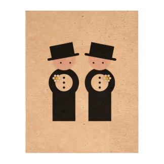 Two caucasian grooms cork fabric