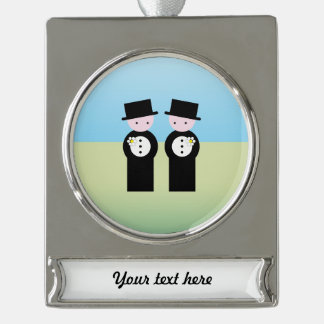 Two caucasian grooms silver plated banner ornament