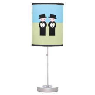 Two caucasian grooms table lamp