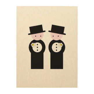 Two caucasian grooms wood canvas
