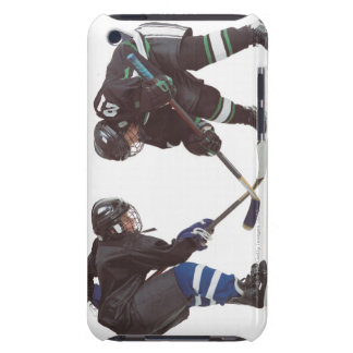 two caucasian hockey players wearing opposing Case-Mate iPod touch case