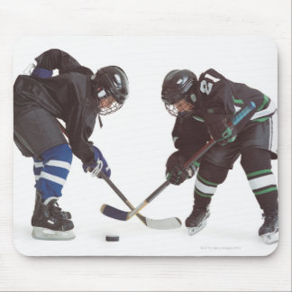 two caucasian hockey players wearing opposing mouse pad