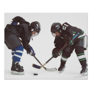 two caucasian hockey players wearing opposing poster
