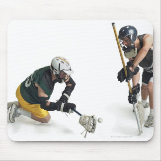 two caucasian male lacrosse players from 2 mouse pad