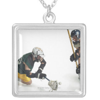 two caucasian male lacrosse players from 2 square pendant necklace