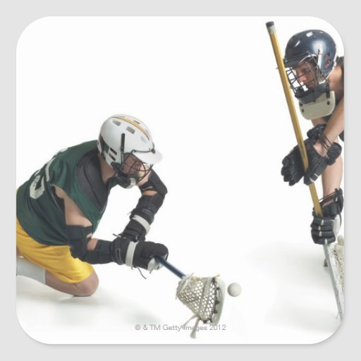 two caucasian male lacrosse players from 2 sticker