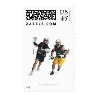 two caucasian male lacrosse players from postage