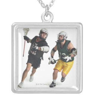 two caucasian male lacrosse players from square pendant necklace