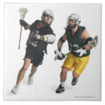 two caucasian male lacrosse players from ceramic tile