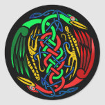 Two Celtic Birds Classic Round Sticker