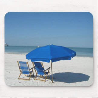 Two Chairs, an Umbrella, and a Quiet Beach Mouse Pad