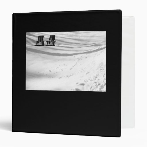 Two Chairs Buried In Snow 3 Ring Binder