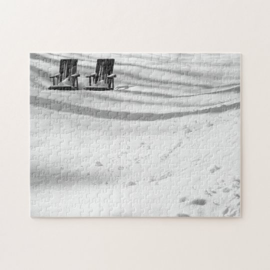 Two Chairs Buried In Snow Jigsaw Puzzle
