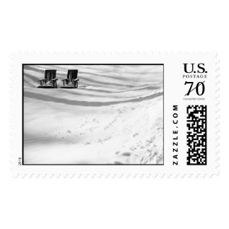 Two Chairs Buried In Snow – Large stamp