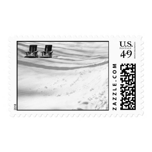 Two Chairs Buried In Snow – Medium stamp