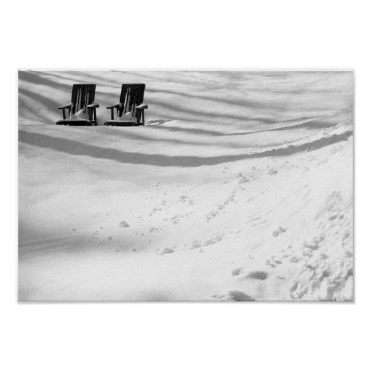 Two Chairs Buried In Snow Poster