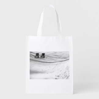 Two Chairs Buried In Snow Reusable Grocery Bag