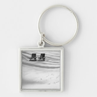 Two Chairs Buried In Snow Silver-Colored Square Keychain