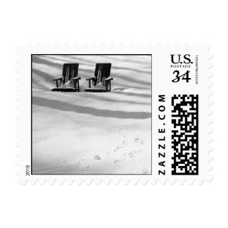 Two Chairs Buried In Snow – Small stamp