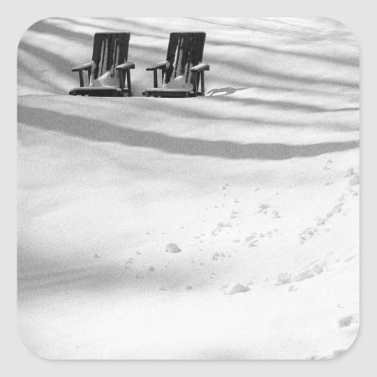 Two Chairs Buried In Snow Square Sticker