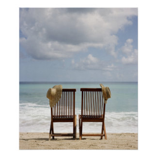 Two Chairs On Beach | Barbados Poster