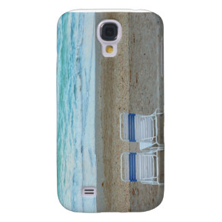 Two chairs on beach sand ocean waves samsung s4 case