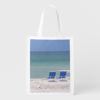 Two Chairs on the Beach Reusable Grocery Bag