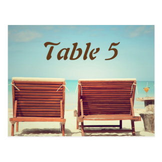 Two Chairs on the Beach Table Numbers Post Cards