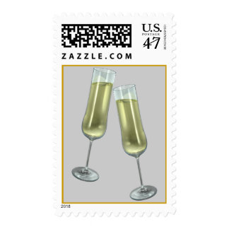 Two champagne flutes stamp